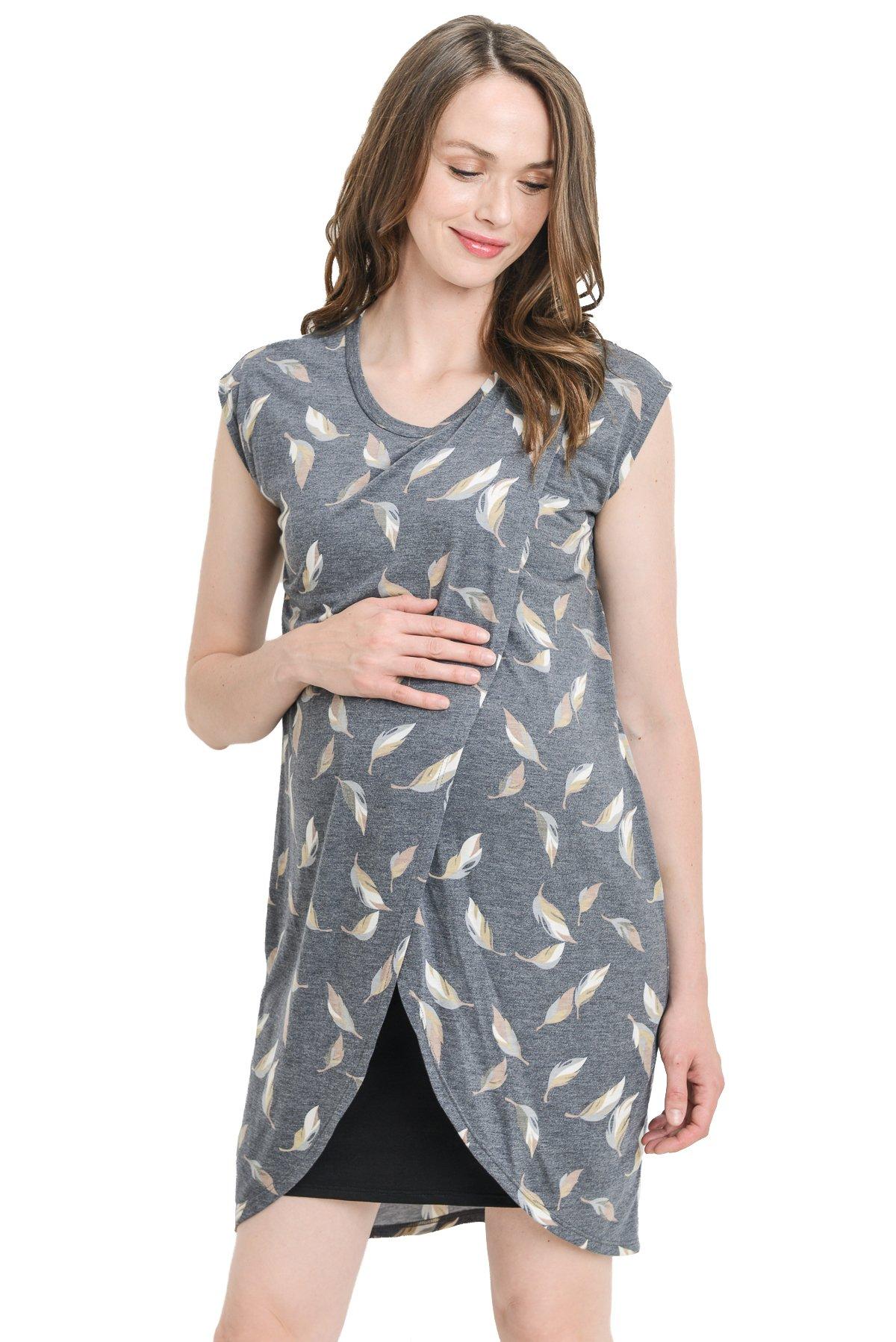 Hello MIZ Color Block Asymmetrical Breastfeeing Maternity Nursing Dress (Large,Navy/Black)