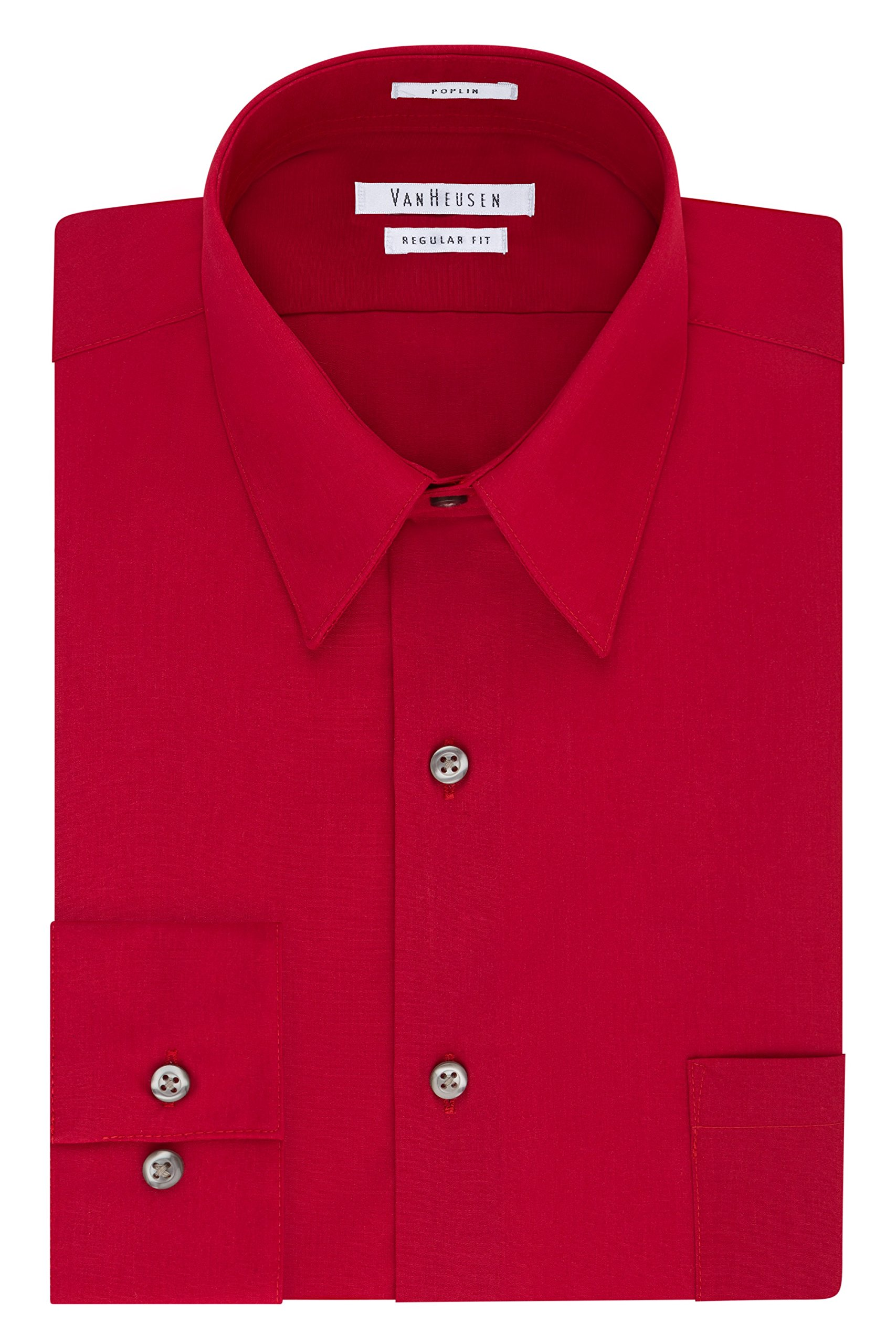 Van Heusen Men's Dress Shirt Regular Fit Poplin