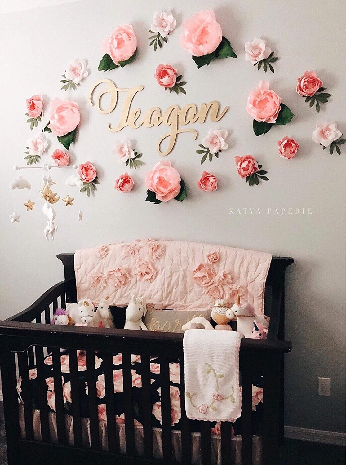 Amazon.com: Dreamy paper flower wall display. Girl nursery wall decor.  Garden party photo booth. Crepe paper wall flowers. Baby shower flower  backdrop.