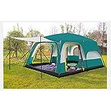 テント 2ルーム 10-12人用 大型テント キャンプ用品 ファミリーテント イベント 防風 防雨 紫外線カット 説明書付き グリーン
