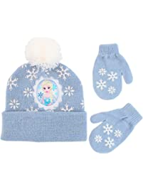 dc61a2d7472 Disney Girls  Toddler Frozen Elsa Beanie Hat and Mittens Cold Weather Set