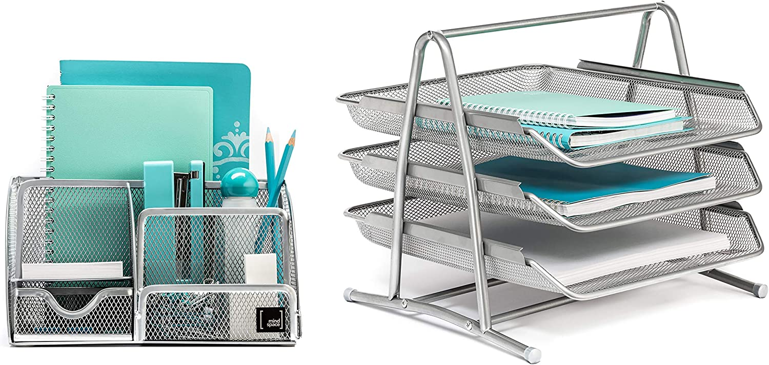 Mindspace Office Desk Organizer with 6 Compartments + 3 Tray Letter Organizer | The Mesh Collection, Silver