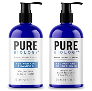 Pure Biology Premium RevivaHair Biotin Shampoo & Conditioner for Hair Growth