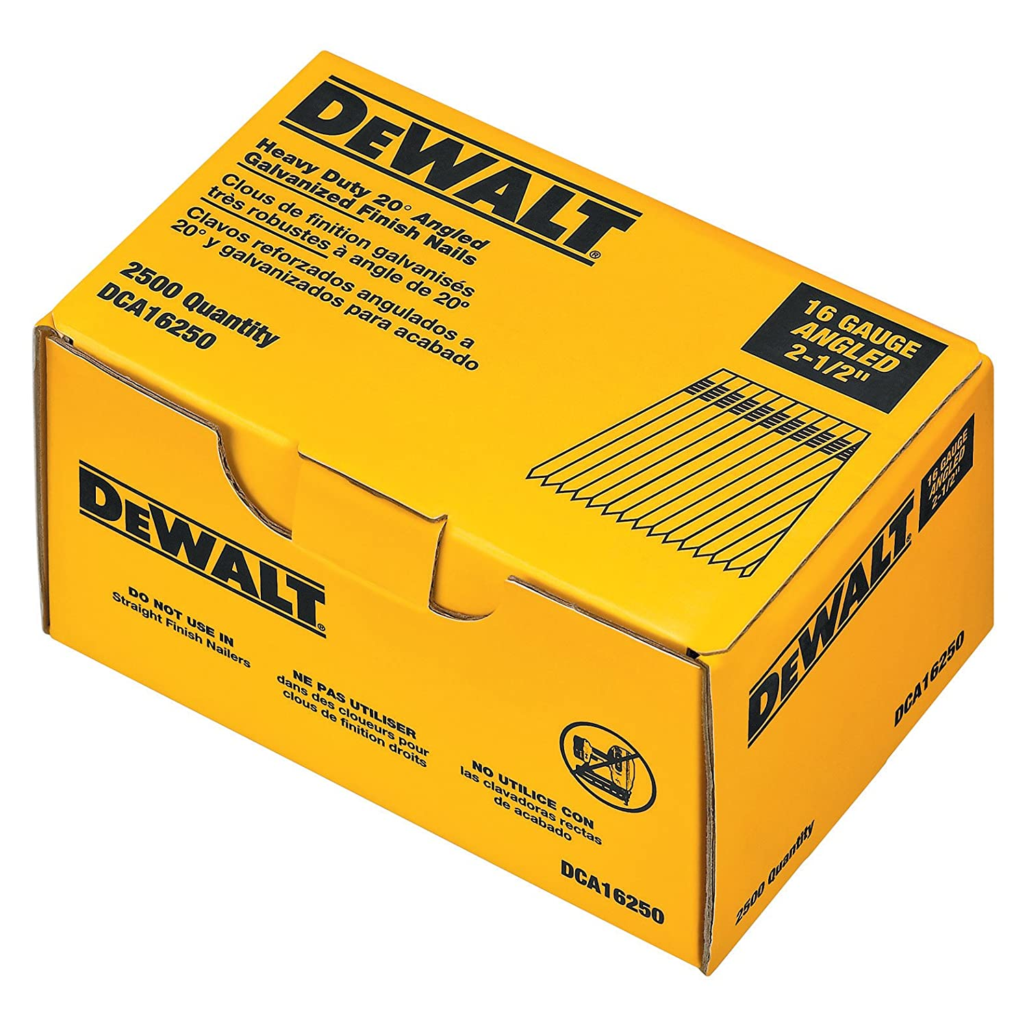 collated finish nails com hardware collated nails dewalt dca16250 2 1 2 inch by 16 gauge 20 degree finish nail 2 500 per box