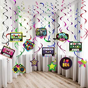 80s Party Decorations Kit, 80's Retro 1980s Party Hanging Swirls Ceiling Decorations Foil Double Spiral 80's Hip Hop Sign Hanging Swirls Decorations for 80's Party Theme Supplies, 30CT