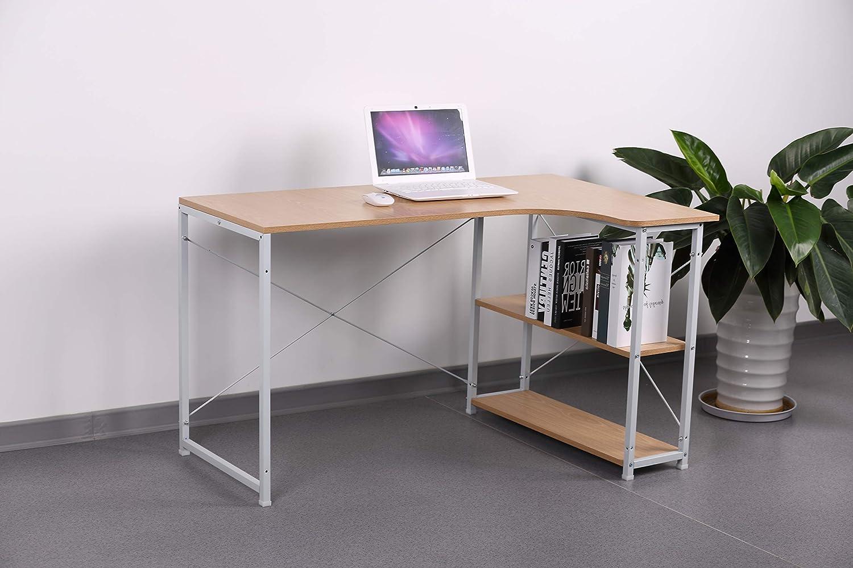 eSituro SCD0035 Schreibtisch PC Tisch Esstisch B/ürotisch Arbeitstisch mit Ablage Holz Stahl Hell Eiche