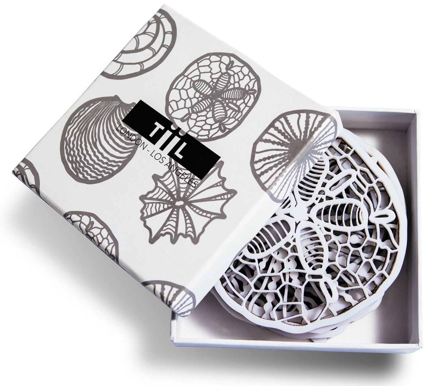 drink coasters by tiil seashellinspired designer coaster set of  - drink coasters by tiil seashellinspired designer coaster set of  plusgift box white amazoncouk kitchen  home