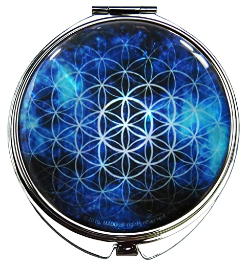 Makeup Mirror Mother of Pearl Metal Dual Compact Folding Magnify Flower of Life (Blue)