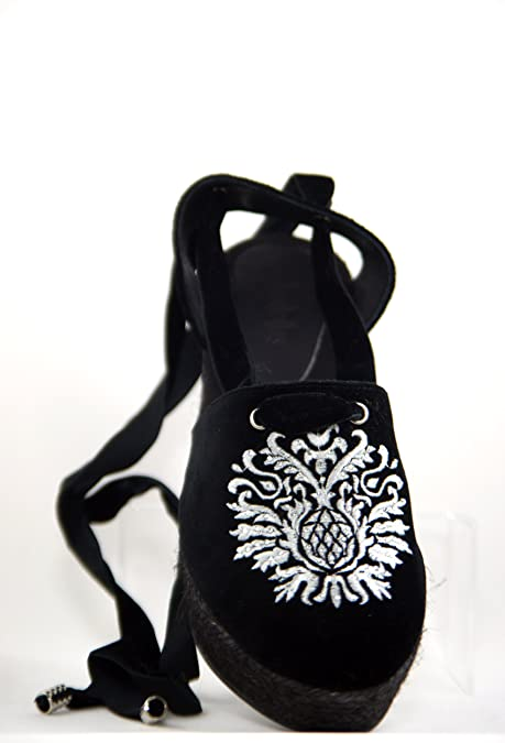 Alpargata laslolas Terciopelo Negro Escudo Bordado y decorado con Cristales Cuña Yute negro 7 centímetros (