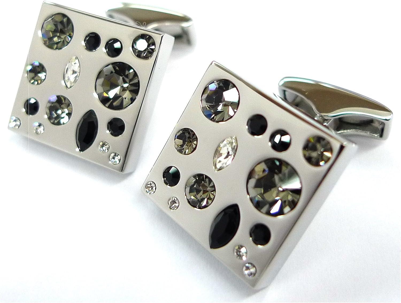 Tailor B Black Tone Crystals Combo Cufflinks Stones Gemelos No Box 052037-2 NB