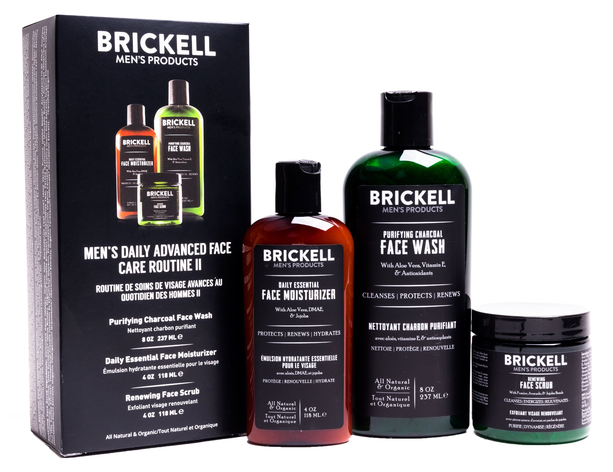 Brickell Men's Daily Advanced Face Care Routine II, Activated Charcoal Facial Cleanser, Face Scrub, Face Moisturizer Lotion, Natural and Organic, Scented by Brickell Men's Products