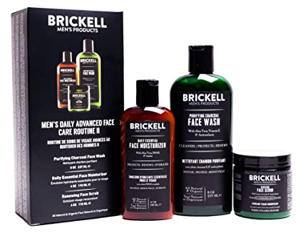 Brickell Men's Daily Advanced Face Care Routine II, Activated Charcoal Facial Cleanser, Face Scrub, Face Moisturizer Lotion, Natural and Organic, Scented best men's skincare sets