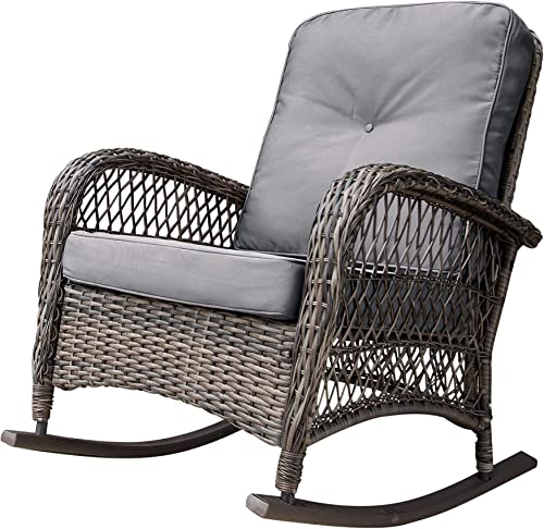 Corvus Salerno Outdoor Wicker Rocking Chair with Cushions with Cushions, Rocking Chairs, Wicker Chairs Grey Metal, Wicker, Fabric