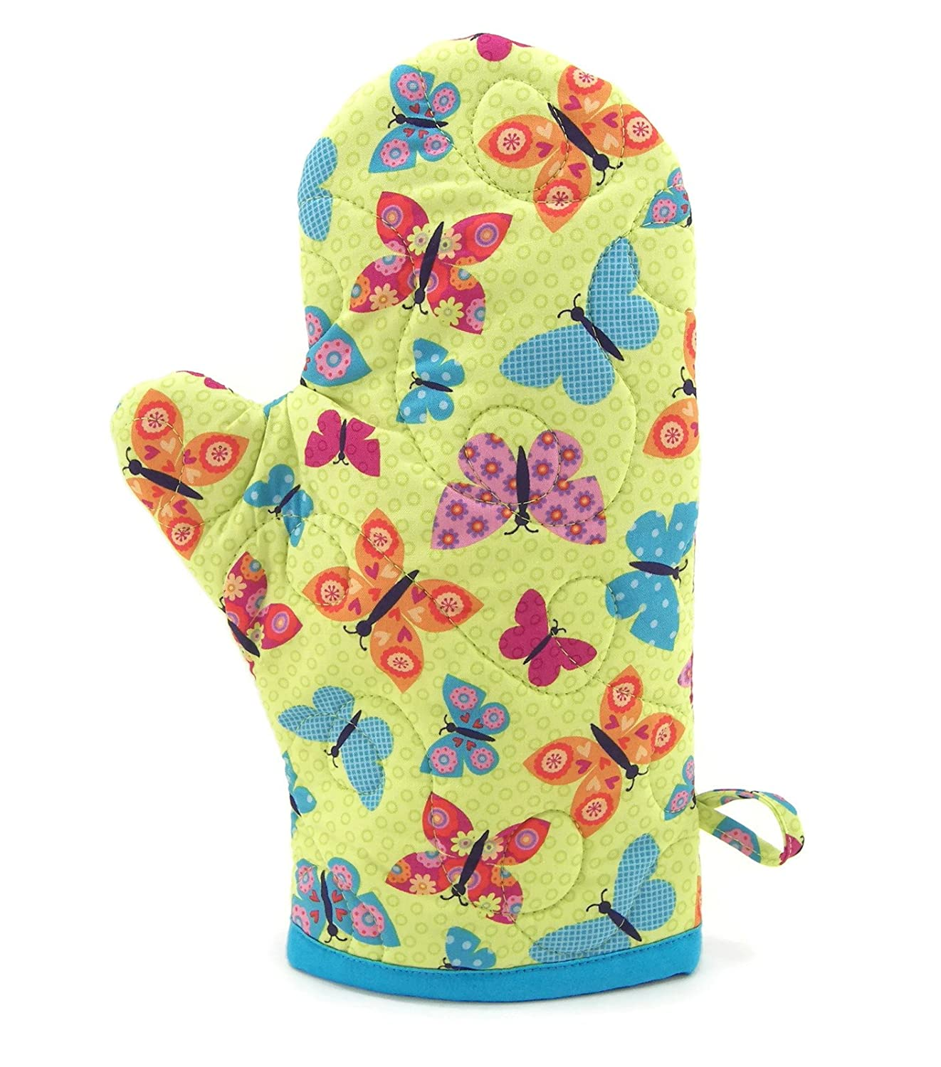 Butterfly Oven Mitt, Green and Turquoise Blue Quilted Cotton Oven Glove