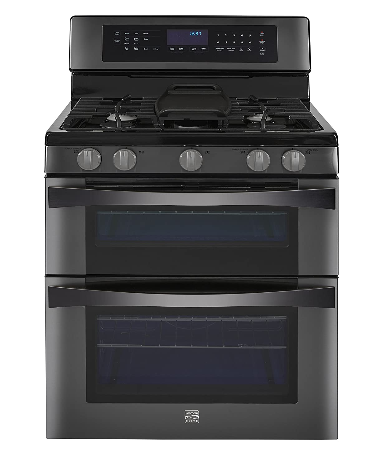 Amazon.com: Kenmore Elite 6.1 cu. ft. Double Oven Gas Range w/Convection  Cooking in Black Stainless, includes delivery and hookup - 02276037:  Appliances