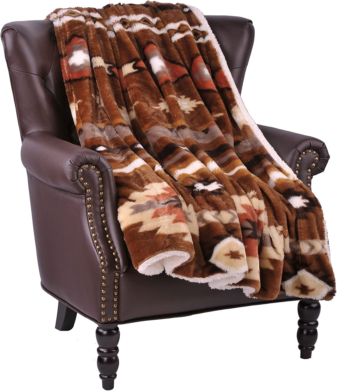 "Home Soft Things Boon Faux Fur Southwest Throw with Sherpa Backing, 50"" x 60"", Coffee"