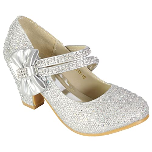Girls Wedding Shoes Kids Children Bridesmaid Prom Diamante Strappy Mary Jane Style Court Shoe Block Low