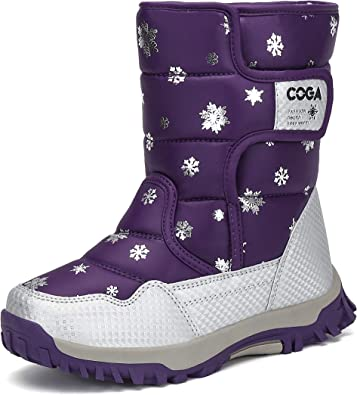 Boys Girls Kids Snow Boots Mid Calf Insulated Winter Snow Boots Ski Boot