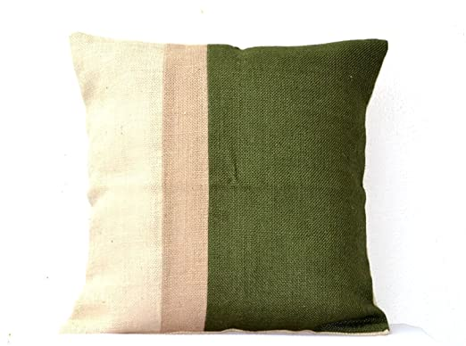 Verde - Funda de cojín de yute arpillera cojín de color ...