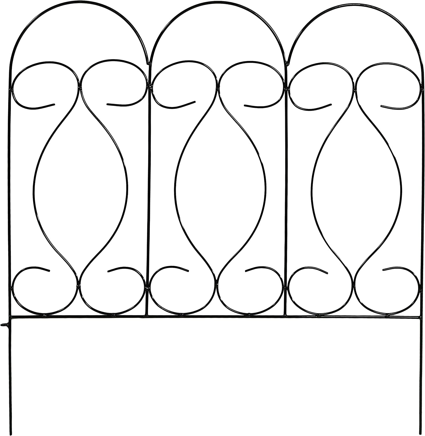 10 Feet Overall 24 Inches x 24 Inches Wide Each Piece Sunnydaze 5 Piece Traditional Border Fence Set Decorative Metal Garden Fencing