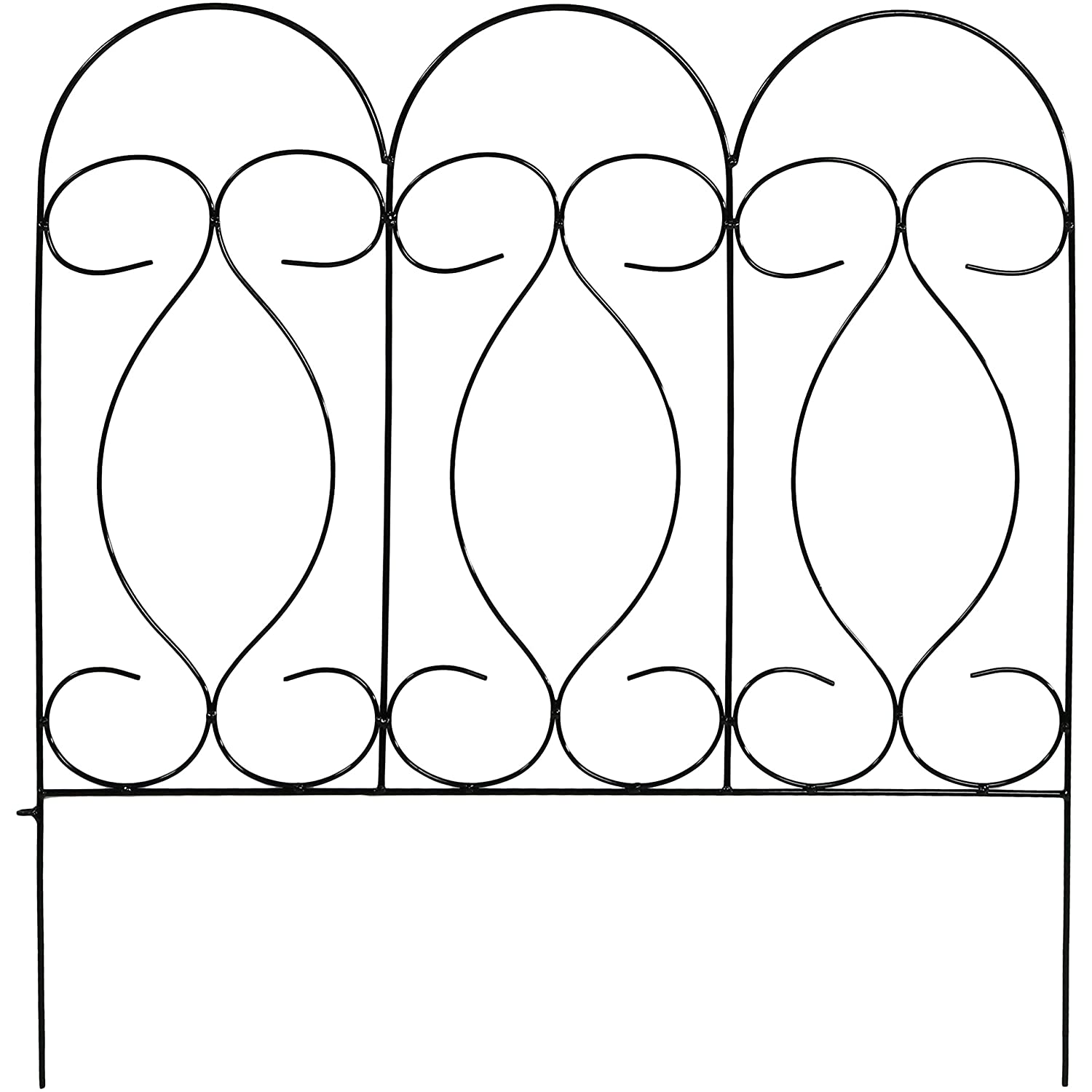 Sunnydaze 5 Piece Traditional Border Fence Set, Decorative Metal Garden Fencing, 24 Inches x 24 Inches Wide Each Piece, 10 Feet Overall