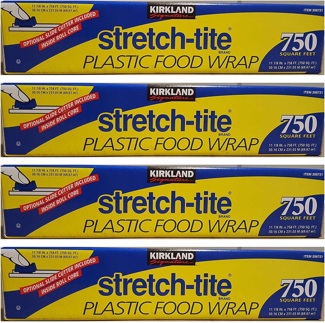 Kirkland Signature Stretch Tite Plastic Food Wrap 11 7/8 Inch X 750 SQ. FT. Pack 4