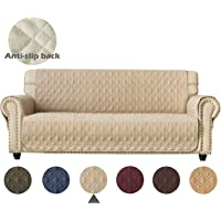 Ameritex Couch Sofa Slipcover 100% Waterproof Nonslip Quilted Furniture Protector Slipcover for Dogs, Children, Pets Sofa Slipcover Machine Washable (Beige, 68