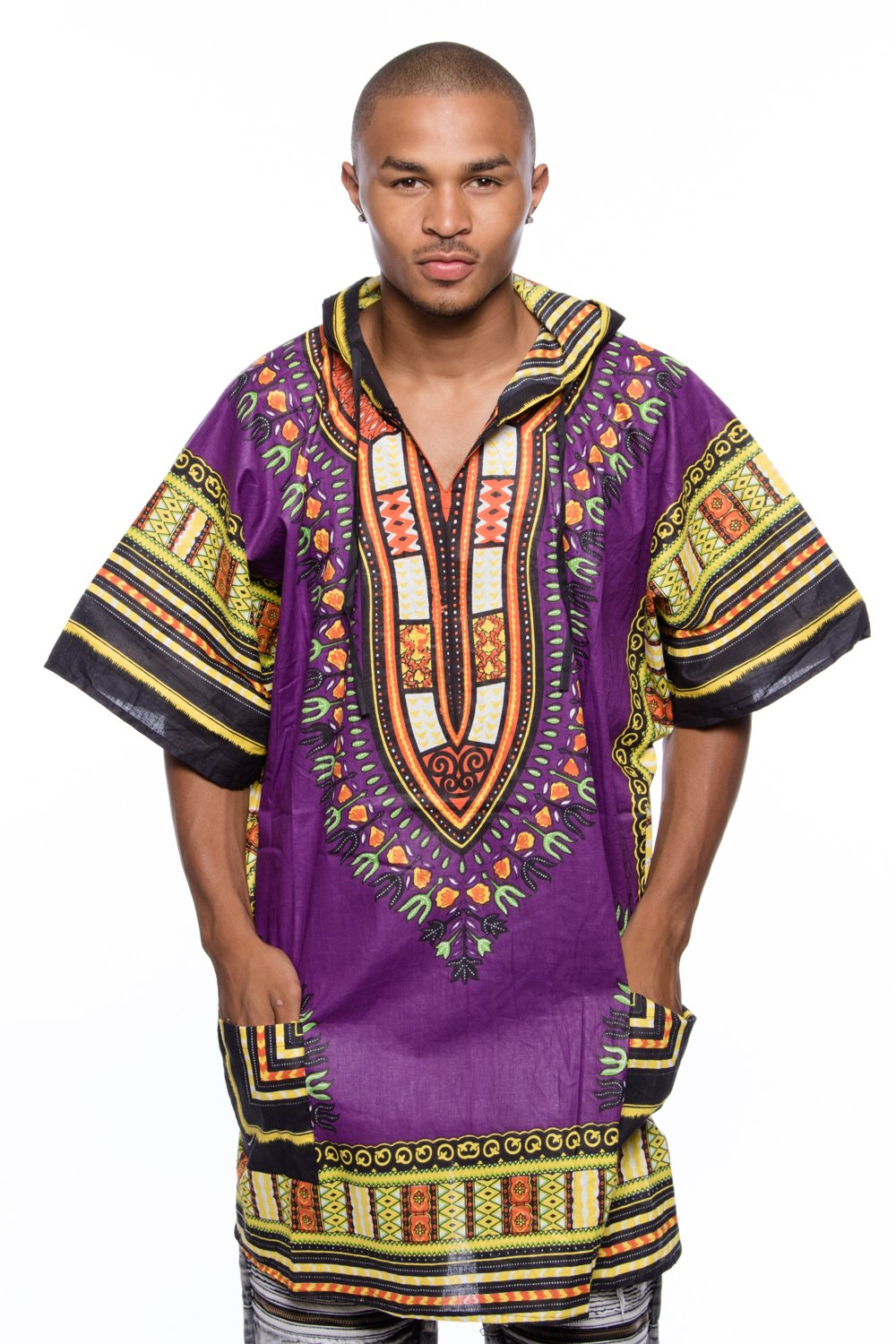 Mens African Swag Dashiki Loose Traditional Long Hoodie Top W/ Hood Fuchsia/Black) Dashiki Hoodie
