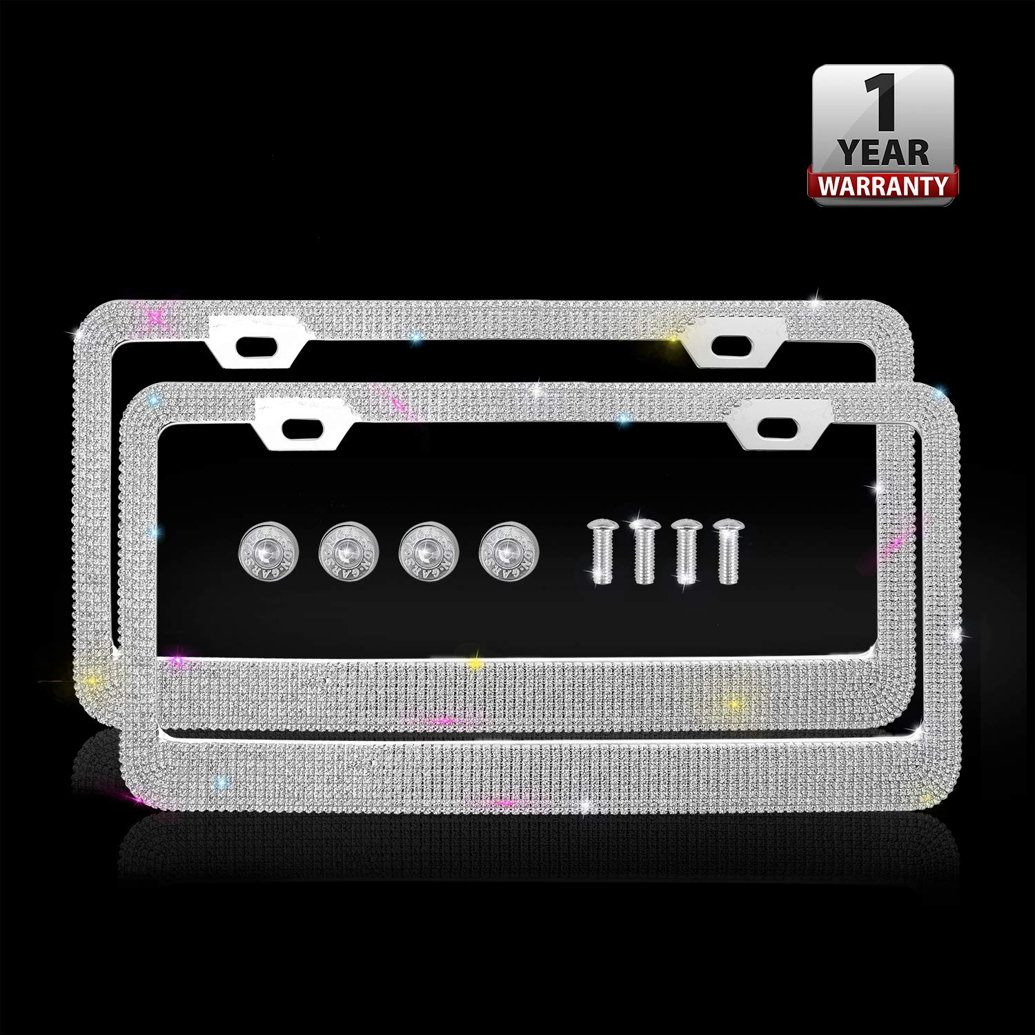 Luxury Handmade Waterproof Glitter Rhinestone Crystal Premium Stainless Steel Licence Plate with Anti-Theft Screw Caps for Front and Back License Indeedbuy Bling License Plate Frames