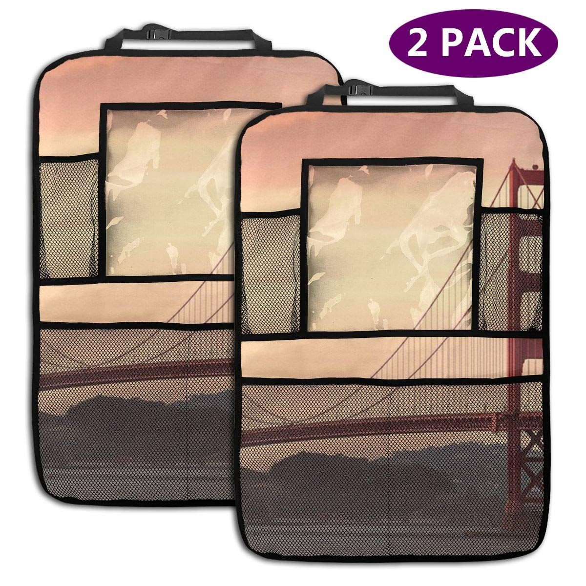 QF6FEICHAN Golden Gate Bridge in San Francisco Car Seat Back Protectors with Storage Pockets Kick Mats Accessories for Kids and Toddlers by QF6FEICHAN
