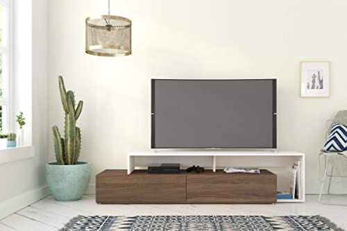 Nexera Tonik, Walnut White 72-inch TV Stand, Walnut Melamine and White Melamine,