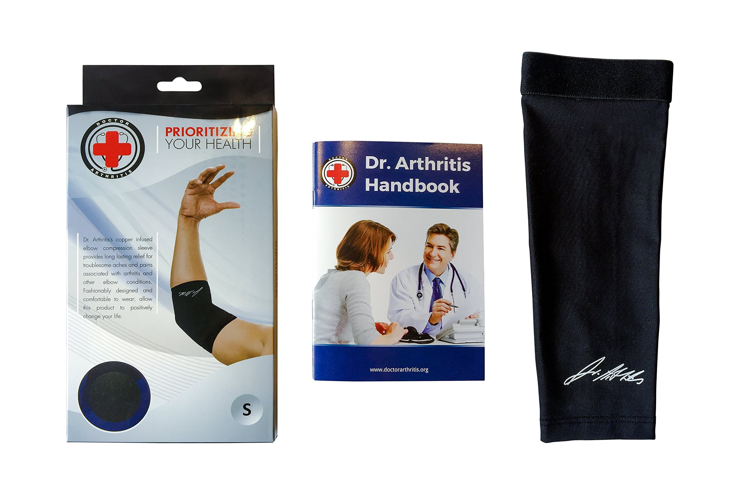 Doctor Developed Copper Elbow Brace & Elbow Support Sleeve AND DOCTOR WRITTEN HANDBOOK —GUARANTEED relief for Tennis elbow, Golfers Elbow, Arthritis, Elbow compression & support (L) by Dr. Arthritis (Image #3)