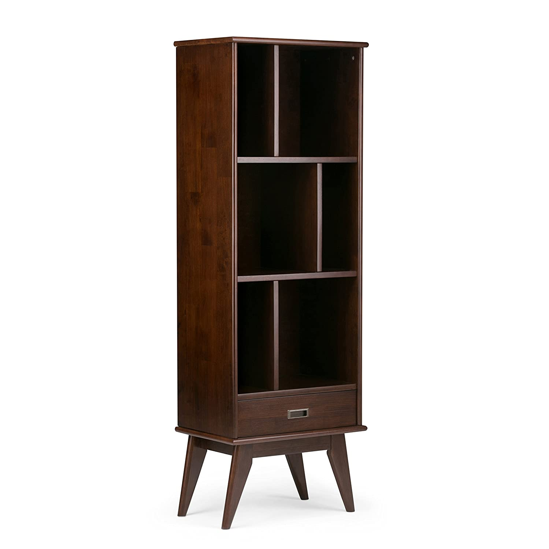 Simpli Home 3AXCDRP-12 Draper Solid Hardwood 64 inch x 22 inch Mid Century Modern Bookcase and Storage Unit in Medium Auburn Brown