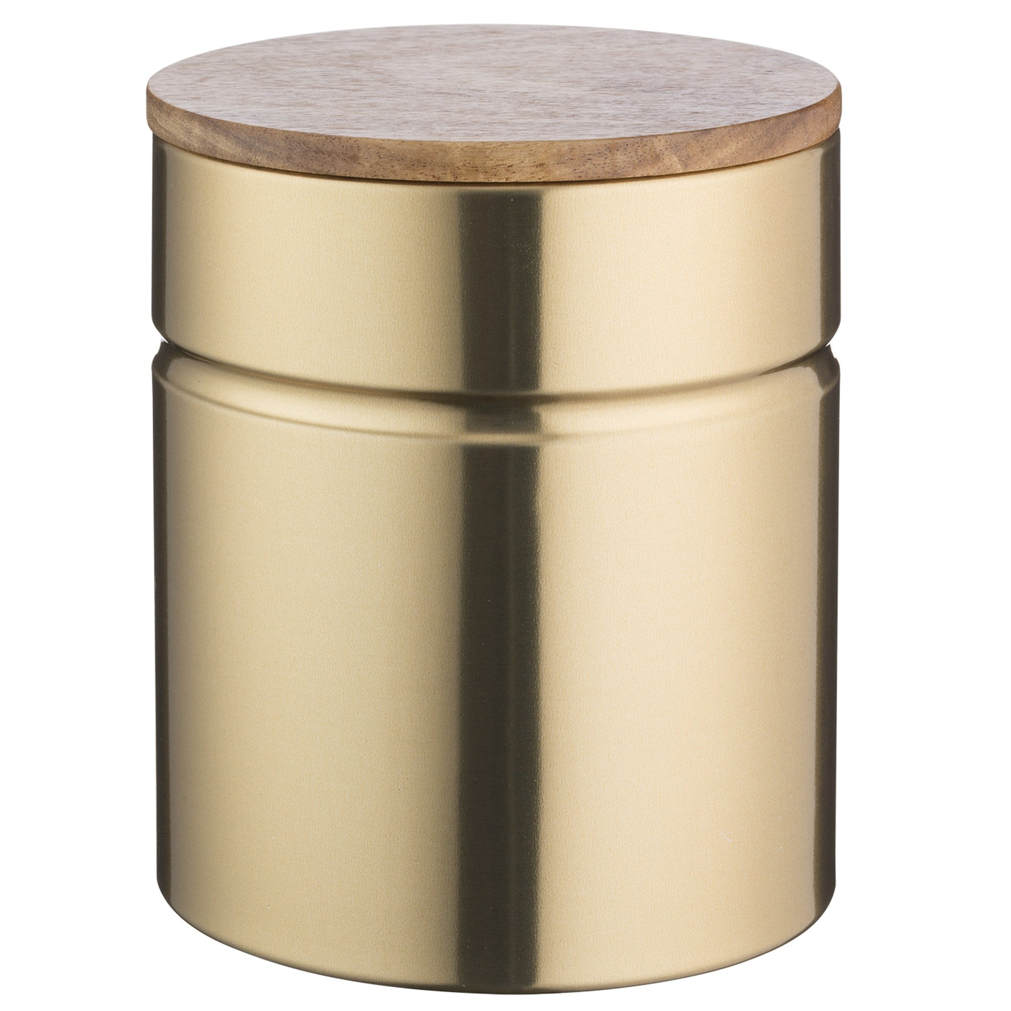 Typhoon Modern Kitchen Medium Storage, 2-1/4 Quart Gold Metallic Canister With Acacia Wood Lid, Airtight Seal Keeps Flour, Cereal and Rice Fresh