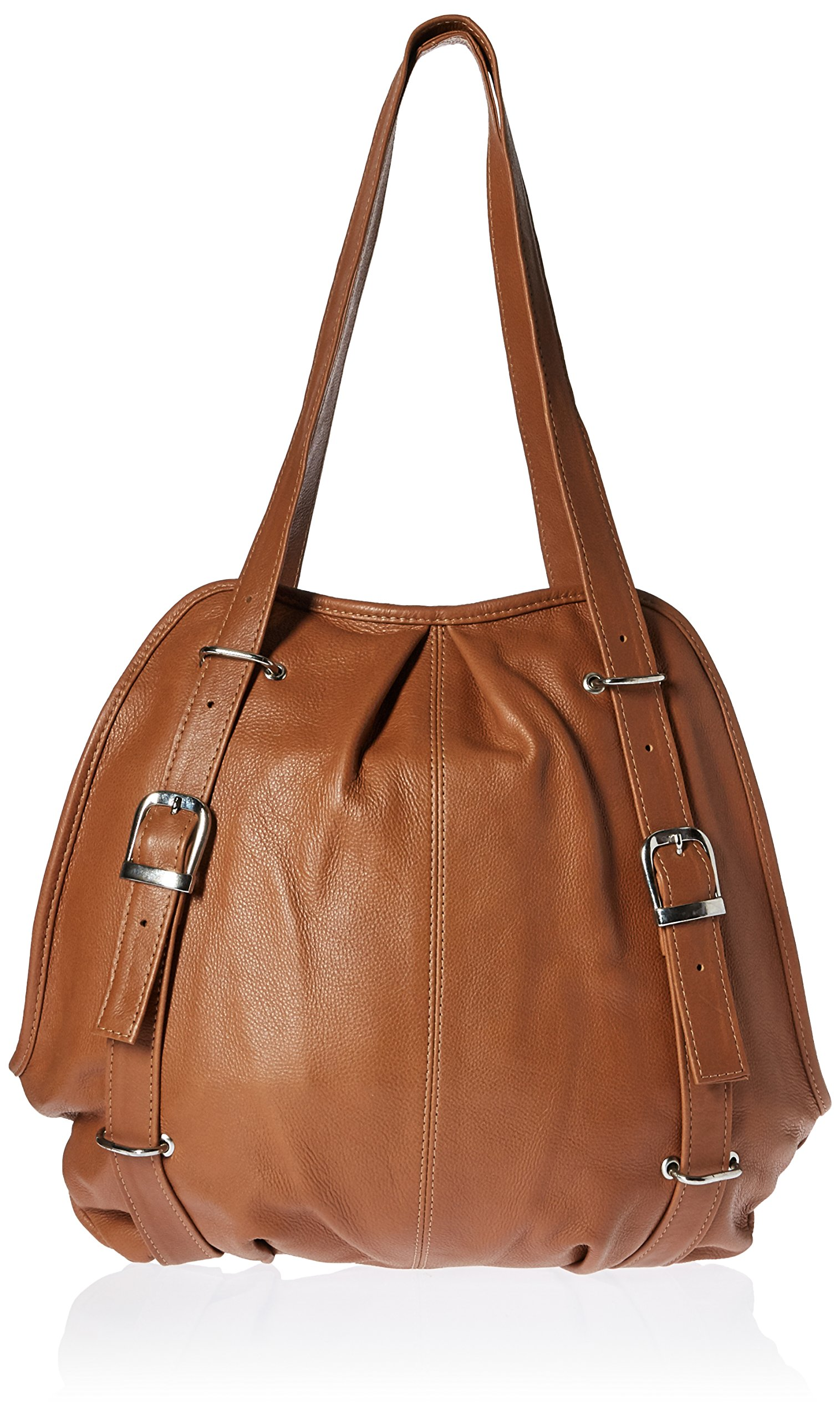 Piel Leather Convertible Buckle Backpack Shoulder Bag, Honey, One Size