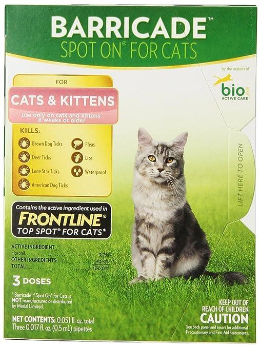 Amazon.com: Barricade Spot-on gotas de pulgas para gatos ...