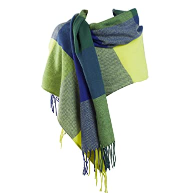db9eca374 SCF299- Soft Large Check Design Blanket Wrap Scarf Shawl in Lime Green and  Blue