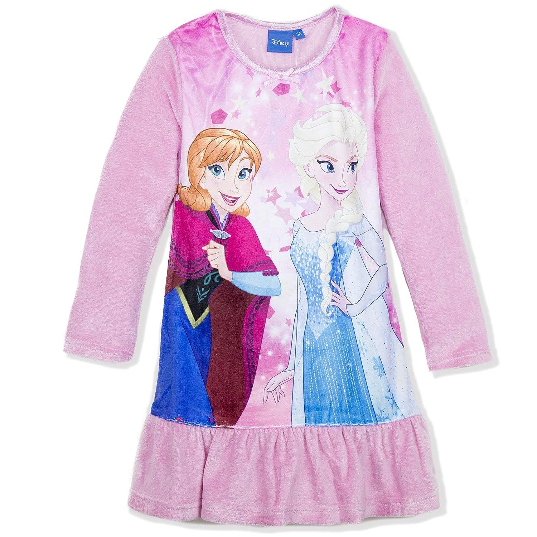 Disney Frozen Official Girls Long Sleeve Nightie, Nightdress 100% Warm Velvet Fabric Cotton Rich 2-8 Years