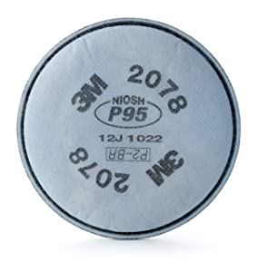 """3M 54368 Particulate Filter 2078, P95, with Nuisance Level Organic Vapor/Acid Gas Relief, 0.78"""" Height, 4.35"""" Length, 4.35"""" Width (Pack of 2)"""