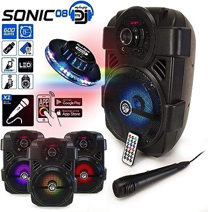 MyDj SONIC08 - Altavoz autónomo con LED (400 W, aplicación de ...