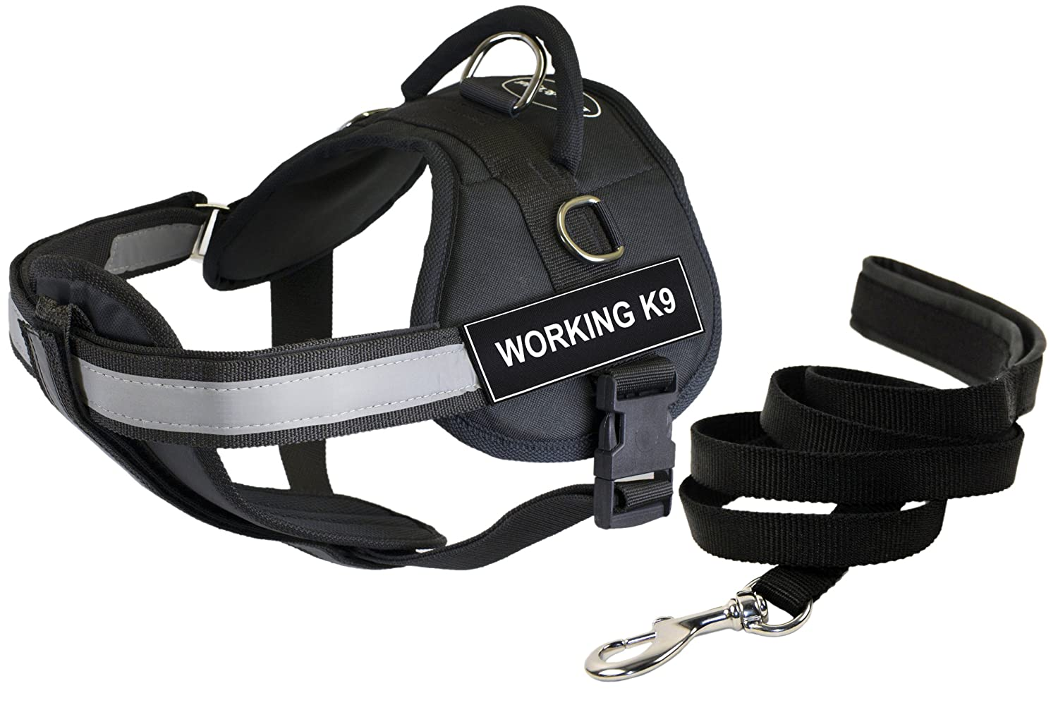 Dean and Tyler Bundle DT Works Harness w Padded Chest, Working K9, Small (25  34 ) + Padded Puppy Leash, 6 FT Stainless Snap Black