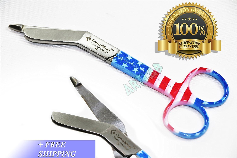 "5.5"" Nurse German EMT Lister Bandage Scissors Shears with American Flag Design (CYNAMED) 81neYSy2BD3L"
