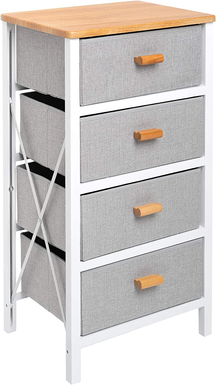 Zenacasa - Foldable Dresser for Bedroom, White - 4 Storage Drawers - Wood Dresser, No Assembly Needed, Clothes Storage - Dresser for Room Organization,Bedroom Storage