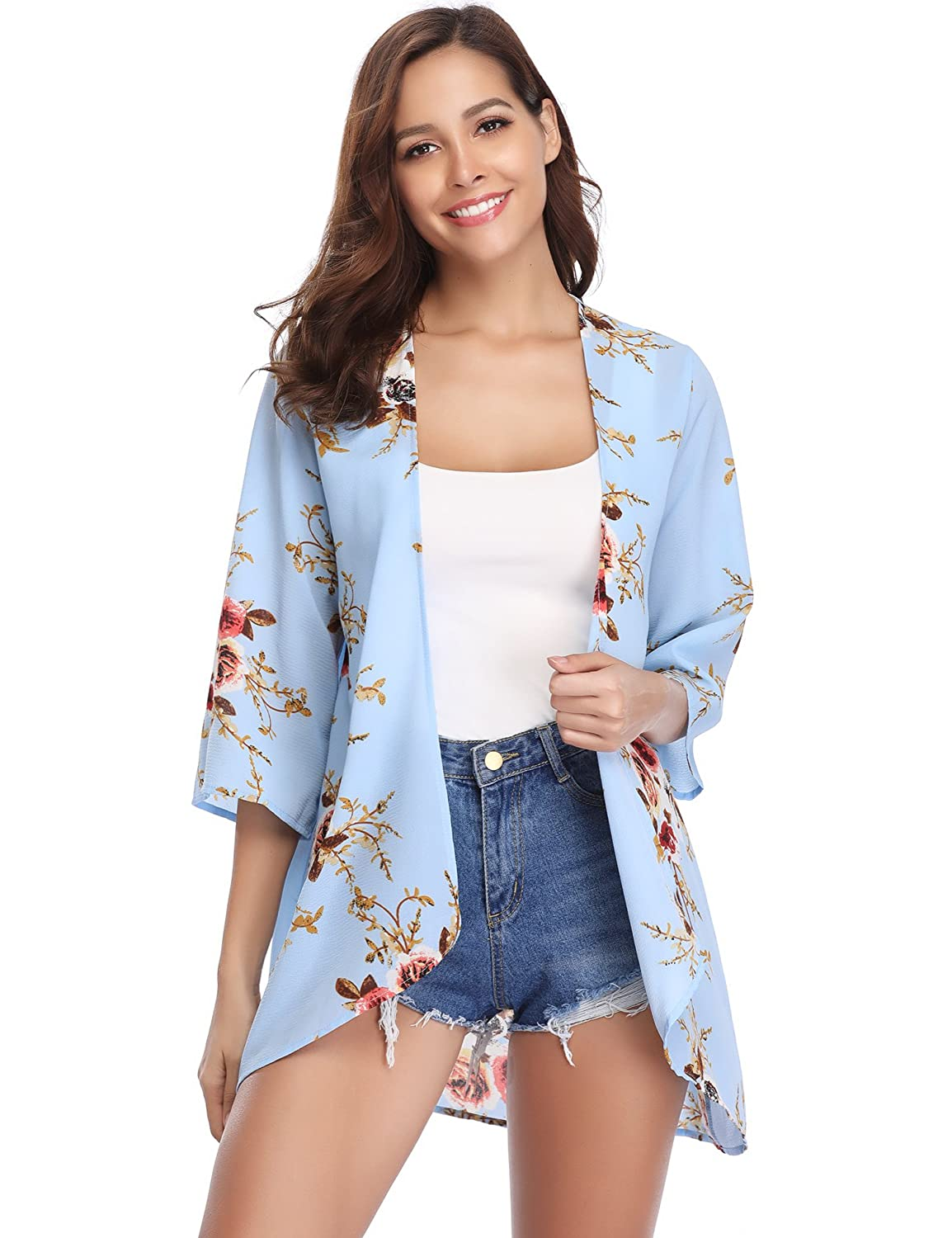 Abollria Women's Beach Cover up Chiffon Floral Boho Summer Cardigan Kimono Blouse