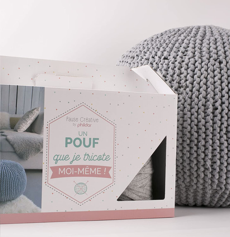 Phildar KIT Pouf à Tricoter-Loisir créatif/DIY, Coton, Gris Chiné ...