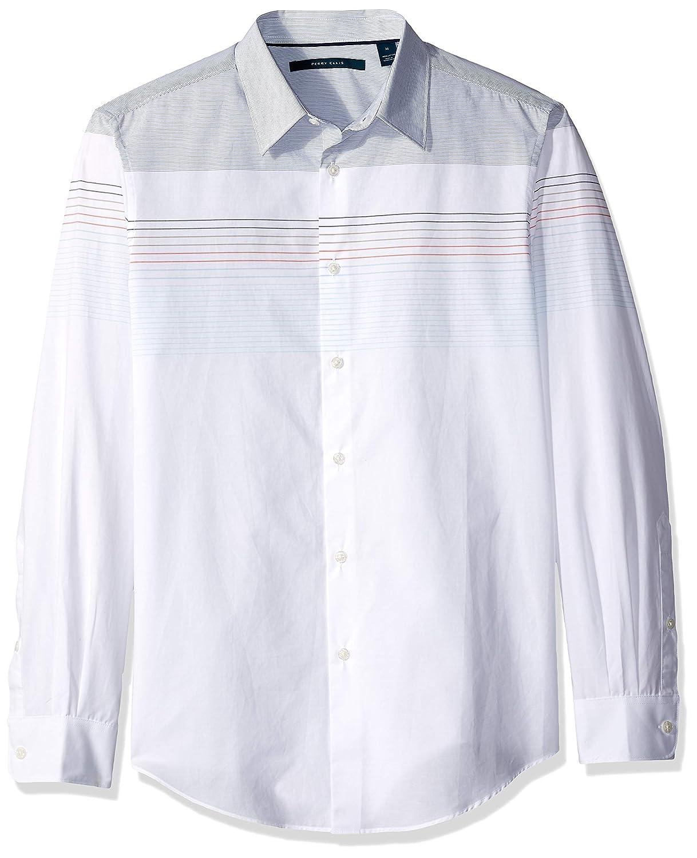 Bright blanc Dhw S Perry Ellis Homme 4DHW3019 Manches Longues Chemise boutonnée
