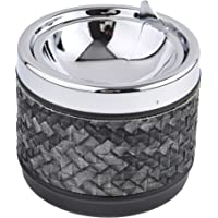 Quantum Abacus Round Windproof Ashtray Made of Metal and PU Leather, with lid, Colorful Rhombus Pattern, Colour: Black…