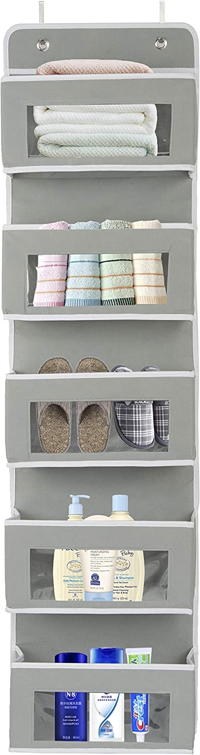 Over The Door Hanging Organizer, Door Organizer with 5 Clear Window Pocket, Wall Mount Hanging Storage Organizer, for Kitchen, Bathroom, Play Room, Closet and More