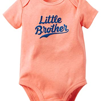 cf3b864b5bf1 Amazon.com  Carters Baby Clothing Outfit Boys Neon Little Brother ...
