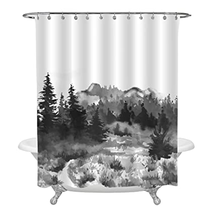 MitoVilla Asian Themed Bathroom Decor Hand Drawn Watercolor Painting Of Foggy Forest Landscape Shower Curtain